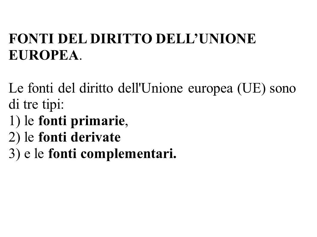 FONTI DEL DIRITTO DELL'UNIONE EUROPEA. Le fonti del diritto dell'Unione europea (UE) sono di tre tipi: 1) le fonti primarie, 2) le fonti derivate 3) e