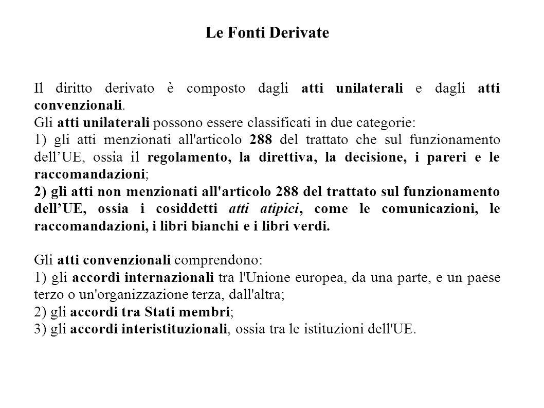 Le Fonti Derivate Il diritto derivato è composto dagli atti unilaterali e dagli atti convenzionali. Gli atti unilaterali possono essere classificati i