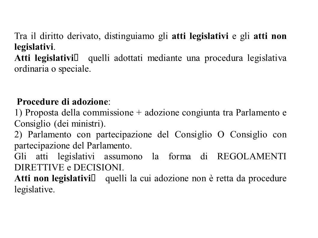 Tra il diritto derivato, distinguiamo gli atti legislativi e gli atti non legislativi. Atti legislativi  quelli adottati mediante una procedura legis