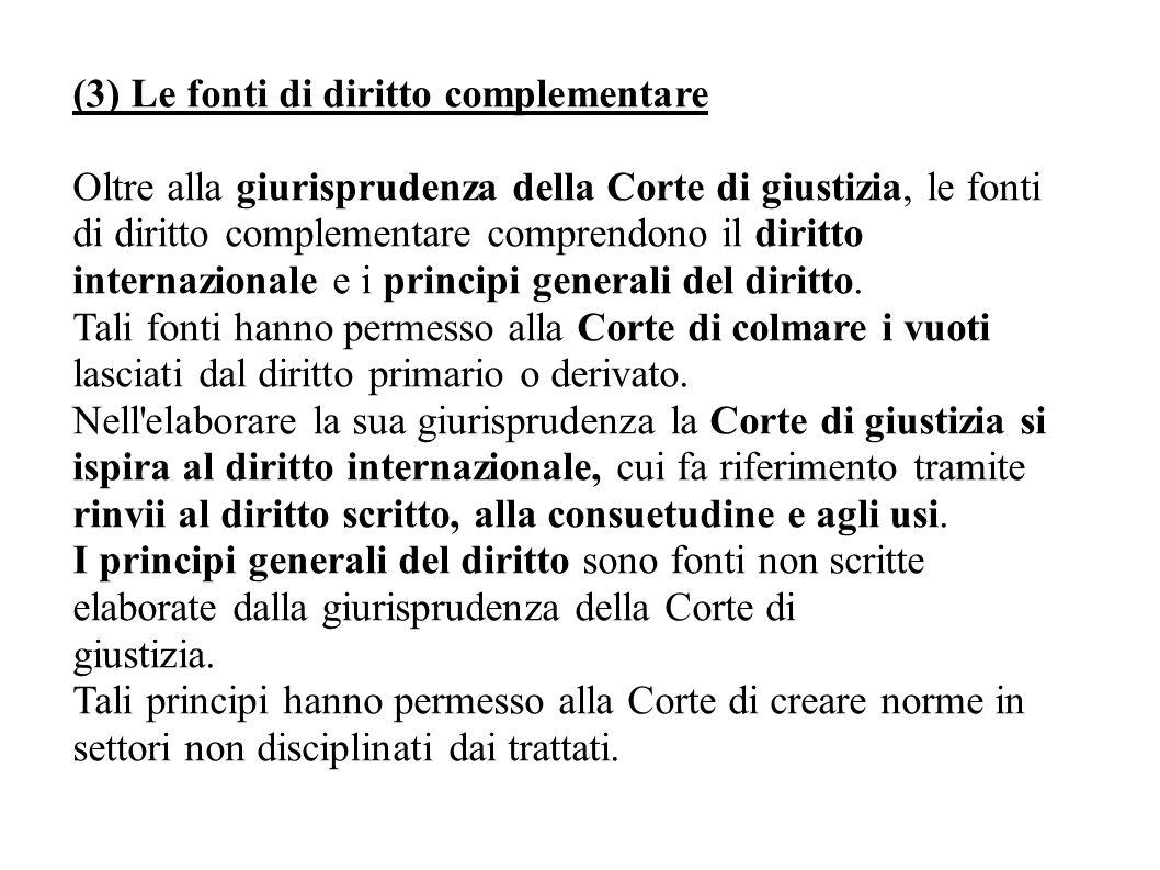 (3) Le fonti di diritto complementare Oltre alla giurisprudenza della Corte di giustizia, le fonti di diritto complementare comprendono il diritto int