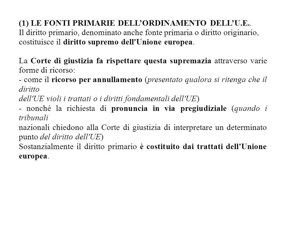 (1) LE FONTI PRIMARIE DELL'ORDINAMENTO DELL'U.E.. Il diritto primario, denominato anche fonte primaria o diritto originario, costituisce il diritto su