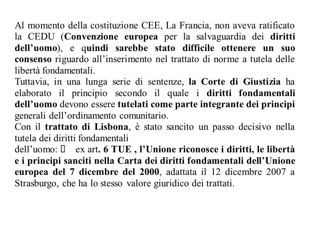Al momento della costituzione CEE, La Francia, non aveva ratificato la CEDU (Convenzione europea per la salvaguardia dei diritti dell'uomo), e quindi