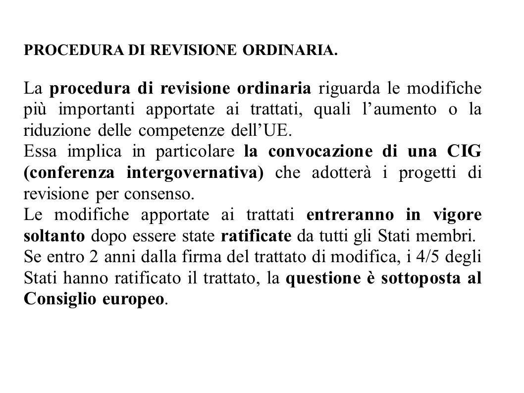 PROCEDURA DI REVISIONE ORDINARIA.