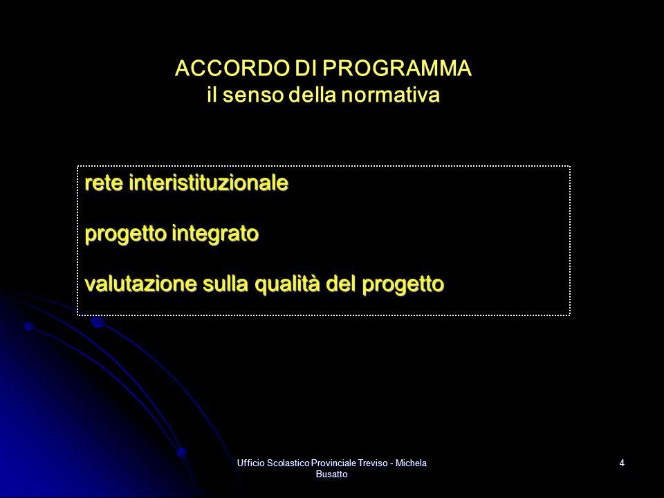 Ufficio Scolastico Provinciale Treviso - Michela Busatto 4 ACCORDO DI PROGRAMMA il senso della normativa rete interistituzionale progetto integrato va