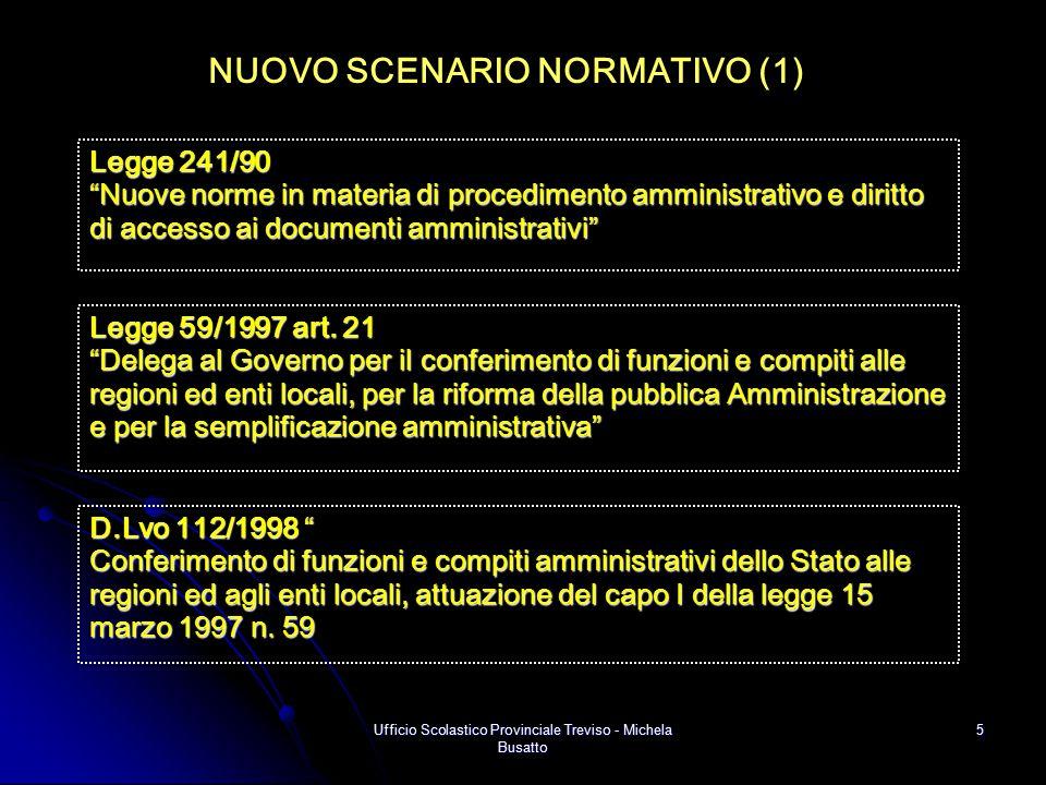 """Ufficio Scolastico Provinciale Treviso - Michela Busatto 5 NUOVO SCENARIO NORMATIVO (1) D.Lvo 112/1998 """" Conferimento di funzioni e compiti amministra"""