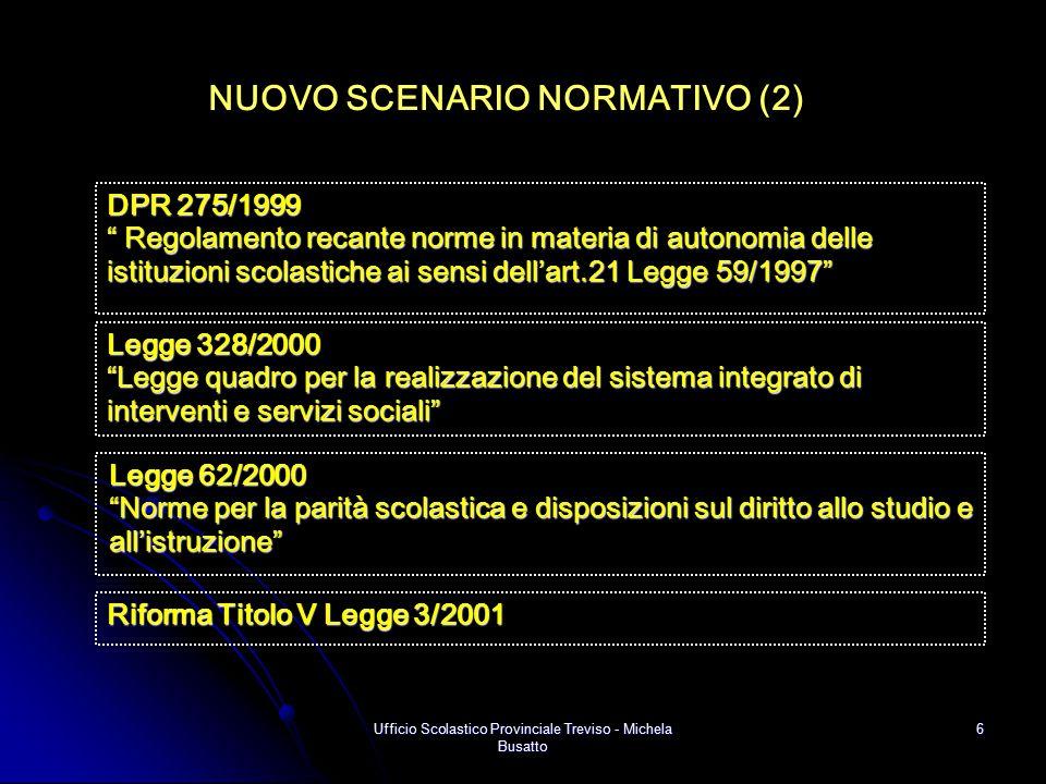 """Ufficio Scolastico Provinciale Treviso - Michela Busatto 6 NUOVO SCENARIO NORMATIVO (2) Legge 62/2000 """"Norme per la parità scolastica e disposizioni s"""