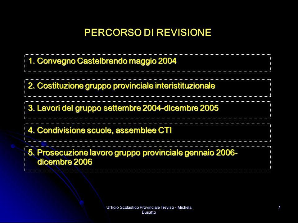 Ufficio Scolastico Provinciale Treviso - Michela Busatto 7 PERCORSO DI REVISIONE 5. Prosecuzione lavoro gruppo provinciale gennaio 2006- dicembre 2006