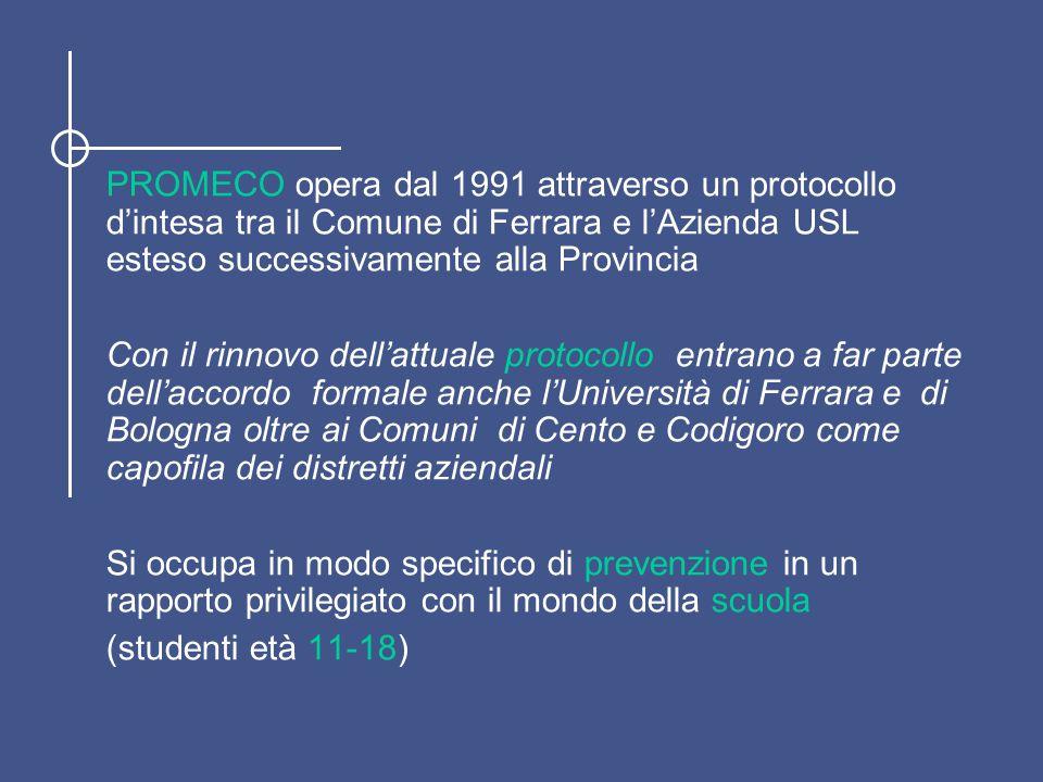 PROMECO opera dal 1991 attraverso un protocollo d'intesa tra il Comune di Ferrara e l'Azienda USL esteso successivamente alla Provincia Con il rinnovo dell'attuale protocollo entrano a far parte dell'accordo formale anche l'Università di Ferrara e di Bologna oltre ai Comuni di Cento e Codigoro come capofila dei distretti aziendali Si occupa in modo specifico di prevenzione in un rapporto privilegiato con il mondo della scuola (studenti età 11-18)