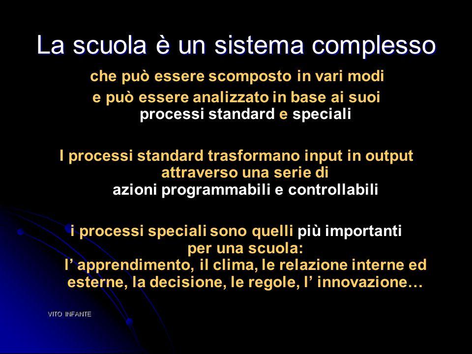 La scuola è un sistema complesso che può essere scomposto in vari modi e può essere analizzato in base ai suoi processi standard e speciali I processi