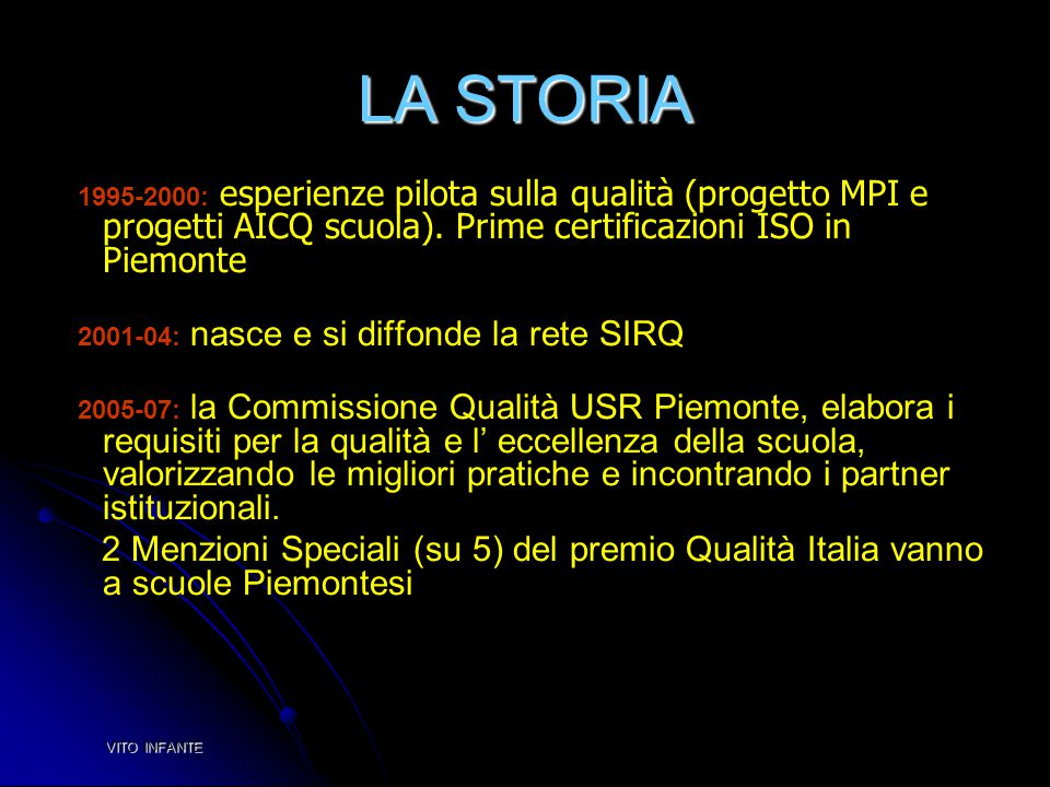 LA STORIA 1995-2000: esperienze pilota sulla qualità (progetto MPI e progetti AICQ scuola). Prime certificazioni ISO in Piemonte 2001-04: nasce e si d