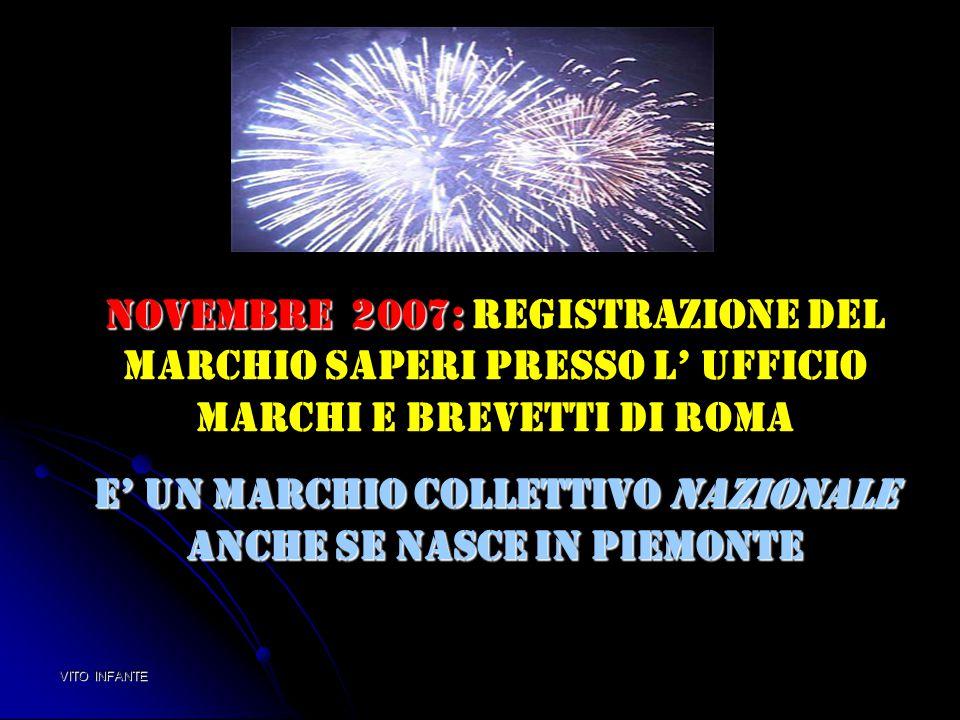 Novembre 2007: Novembre 2007: Registrazione del Marchio saperi presso l' Ufficio marchi e brevetti di Roma E' un MARCHIO COLLETTIVO NAZIONALE anche se