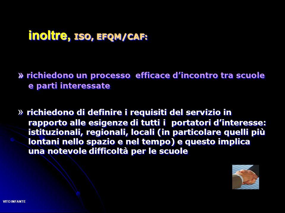 inoltre, ISO, EFQM/CAF: » » richiedono un processo efficace d'incontro tra scuole e parti interessate » richiedono di definire i requisiti del servizi