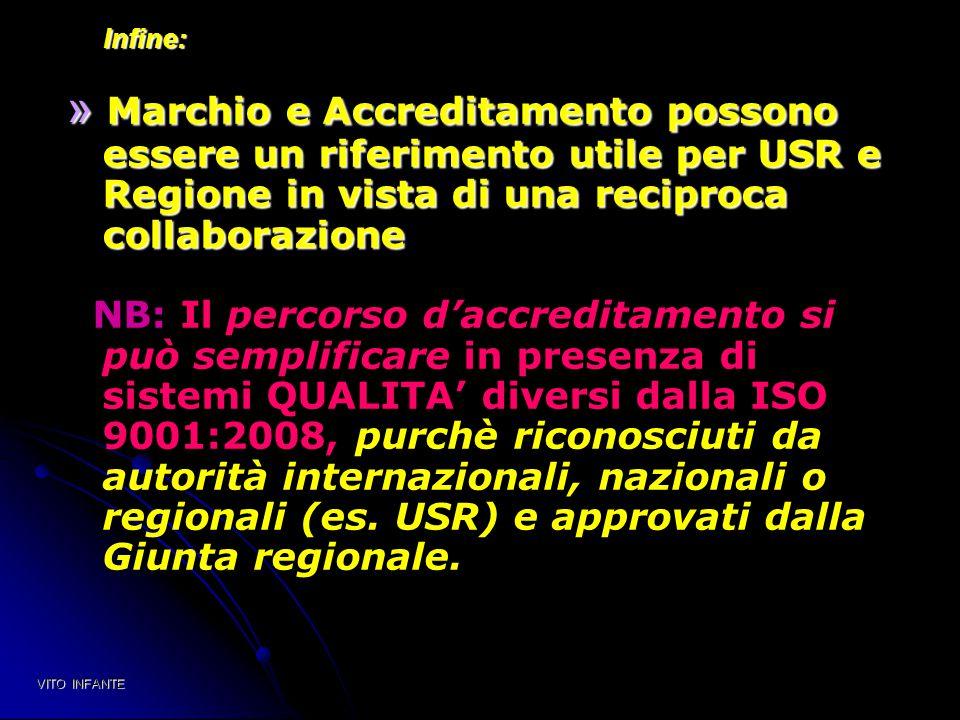 Infine: Infine: » Marchio e Accreditamento possono essere un riferimento utile per USR e Regione in vista di una reciproca collaborazione NB: Il perco
