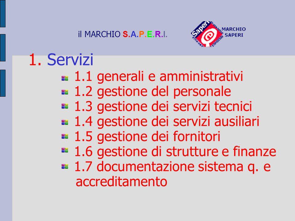 il MARCHIO S.A.P.E.R.I. 1. Servizi 1.1 generali e amministrativi 1.2 gestione del personale 1.3 gestione dei servizi tecnici 1.4 gestione dei servizi