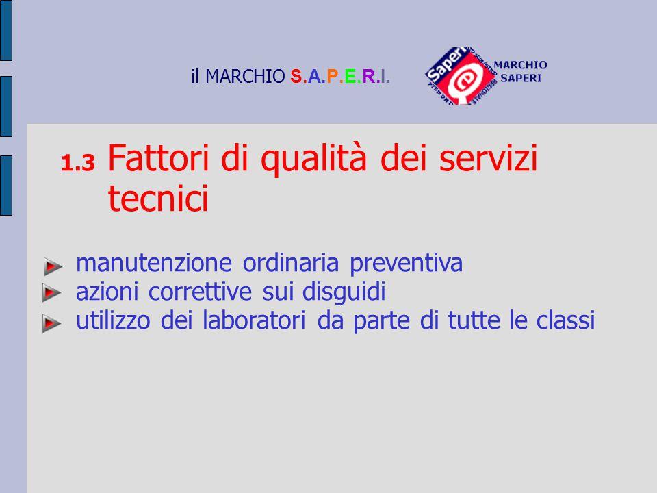il MARCHIO S.A.P.E.R.I. 1.3 Fattori di qualità dei servizi tecnici manutenzione ordinaria preventiva azioni correttive sui disguidi utilizzo dei labor