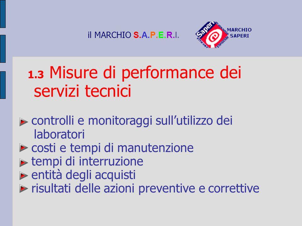 il MARCHIO S.A.P.E.R.I. 1.3 Misure di performance dei servizi tecnici controlli e monitoraggi sull'utilizzo dei laboratori costi e tempi di manutenzio