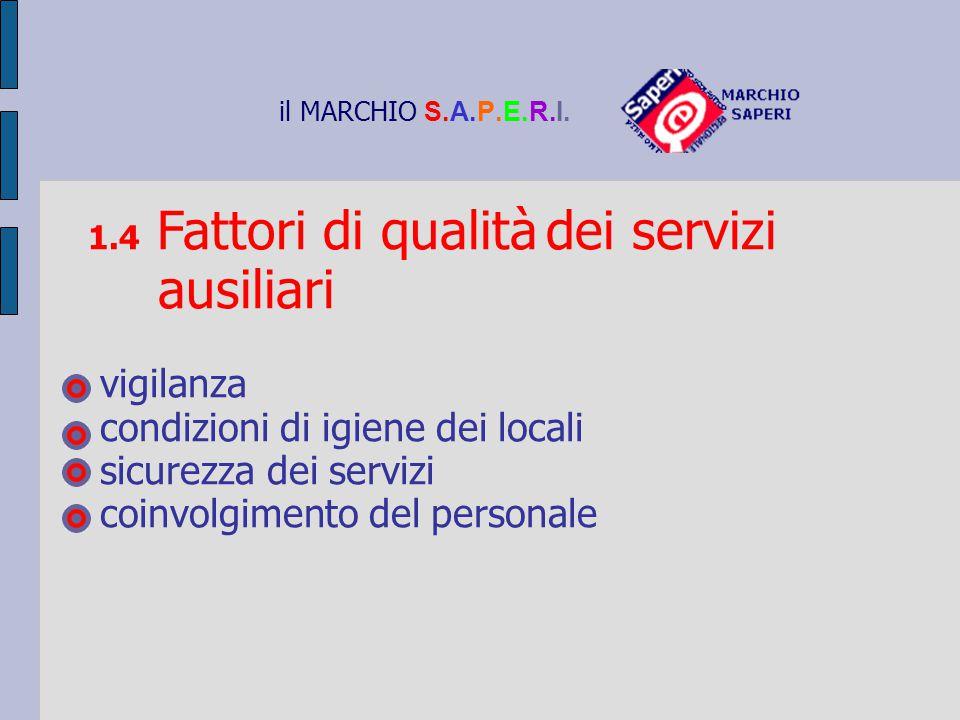 il MARCHIO S.A.P.E.R.I. 1.4 Fattori di qualità dei servizi ausiliari vigilanza condizioni di igiene dei locali sicurezza dei servizi coinvolgimento de