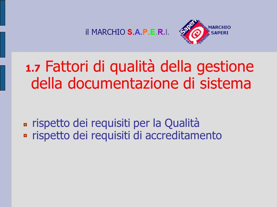 il MARCHIO S.A.P.E.R.I. 1.7 Fattori di qualità della gestione della documentazione di sistema rispetto dei requisiti per la Qualità rispetto dei requi