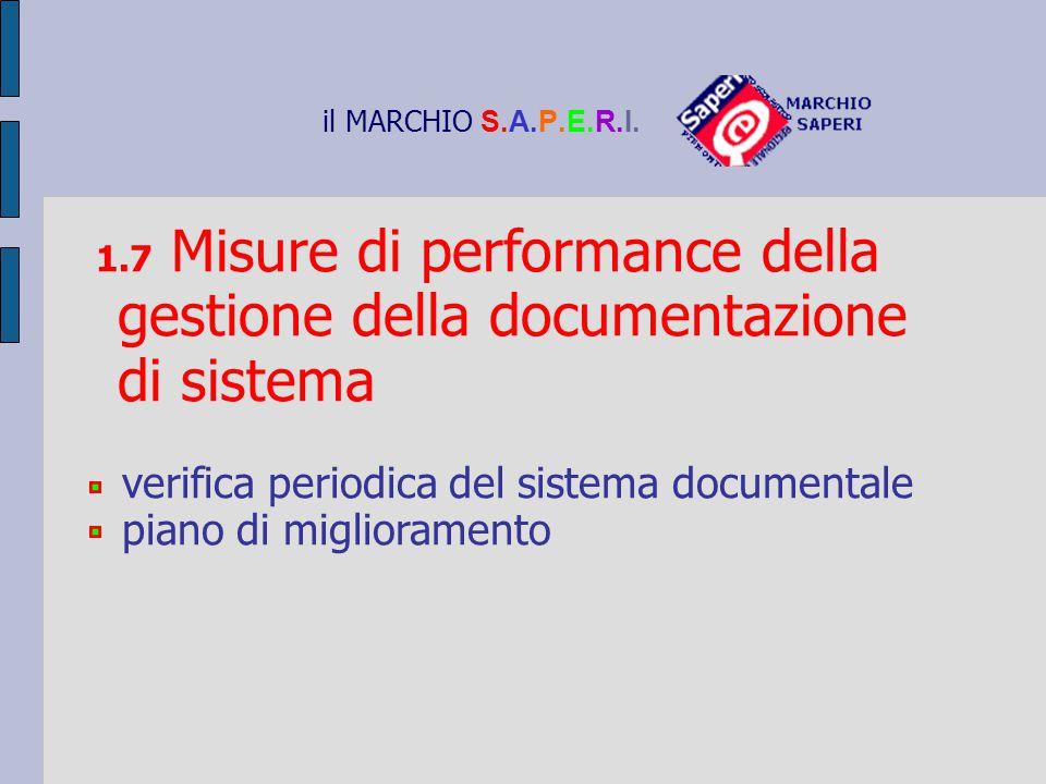 il MARCHIO S.A.P.E.R.I. 1.7 Misure di performance della gestione della documentazione di sistema verifica periodica del sistema documentale piano di m