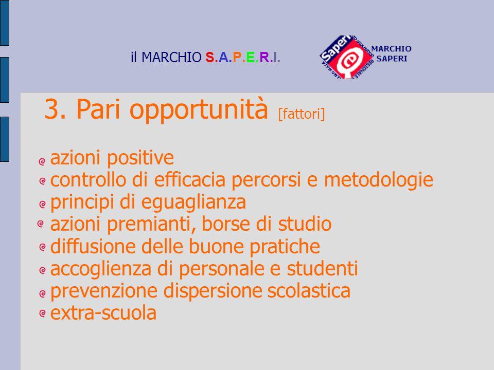 il MARCHIO S.A.P.E.R.I. 3. Pari opportunità [fattori] azioni positive controllo di efficacia percorsi e metodologie principi di eguaglianza azioni pre
