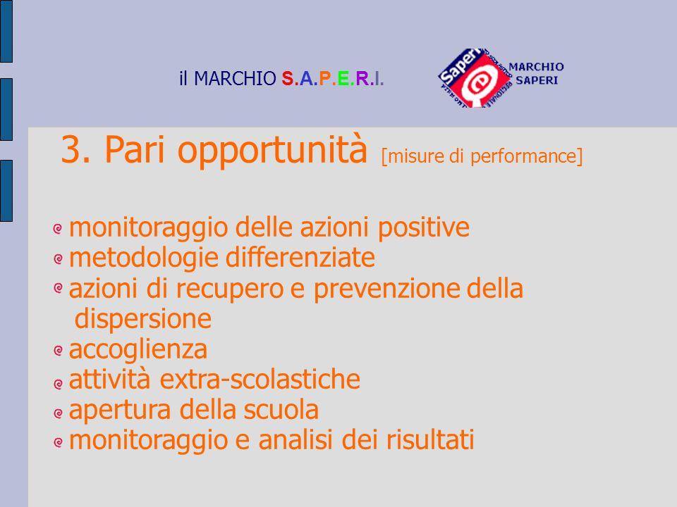 il MARCHIO S.A.P.E.R.I. 3. Pari opportunità [misure di performance] monitoraggio delle azioni positive metodologie differenziate azioni di recupero e