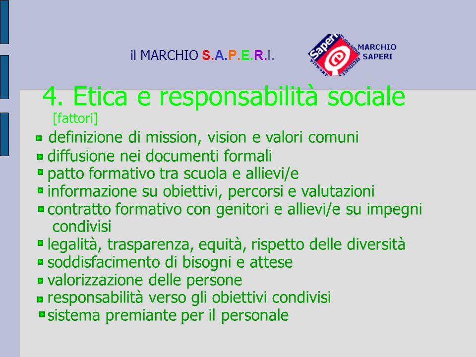 il MARCHIO S.A.P.E.R.I. 4. Etica e responsabilità sociale [fattori] definizione di mission, vision e valori comuni diffusione nei documenti formali pa