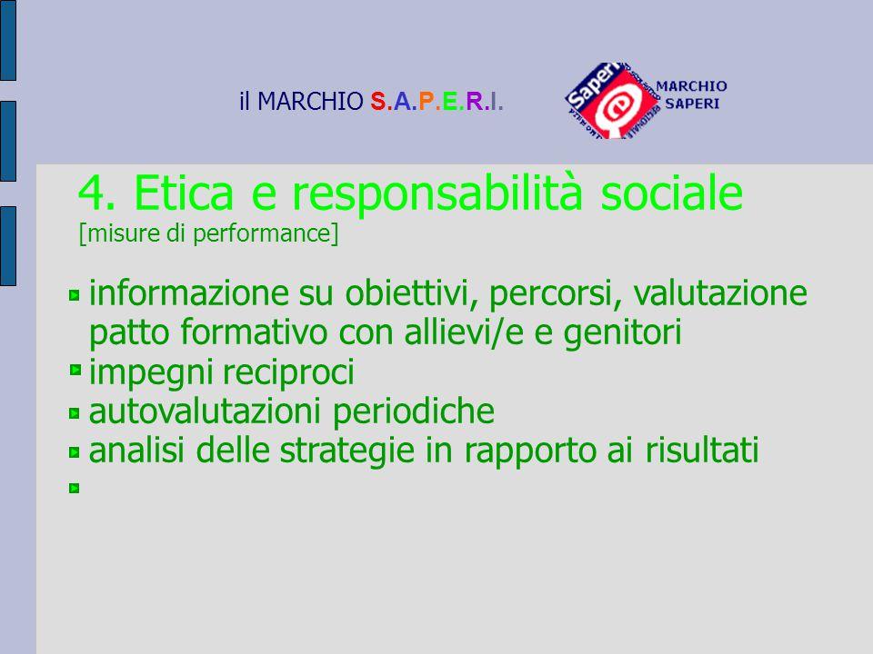 il MARCHIO S.A.P.E.R.I. 4. Etica e responsabilità sociale [misure di performance] informazione su obiettivi, percorsi, valutazione patto formativo con