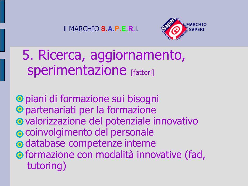 il MARCHIO S.A.P.E.R.I. 5. Ricerca, aggiornamento, sperimentazione [fattori] piani di formazione sui bisogni partenariati per la formazione valorizzaz