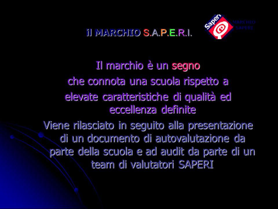 il MARCHIO S.A.P.E.R.I. Il marchio è un segno che connota una scuola rispetto a elevate caratteristiche di qualità ed eccellenza definite Viene rilasc