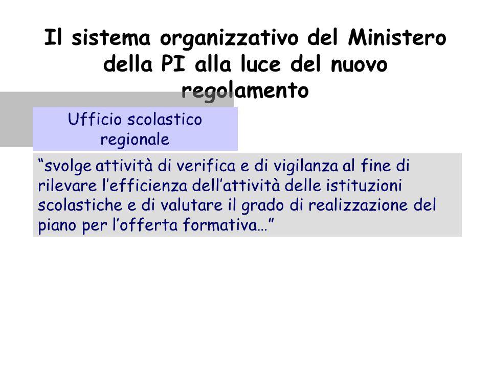 """Il sistema organizzativo del Ministero della PI alla luce del nuovo regolamento """"svolge attività di verifica e di vigilanza al fine di rilevare l'effi"""