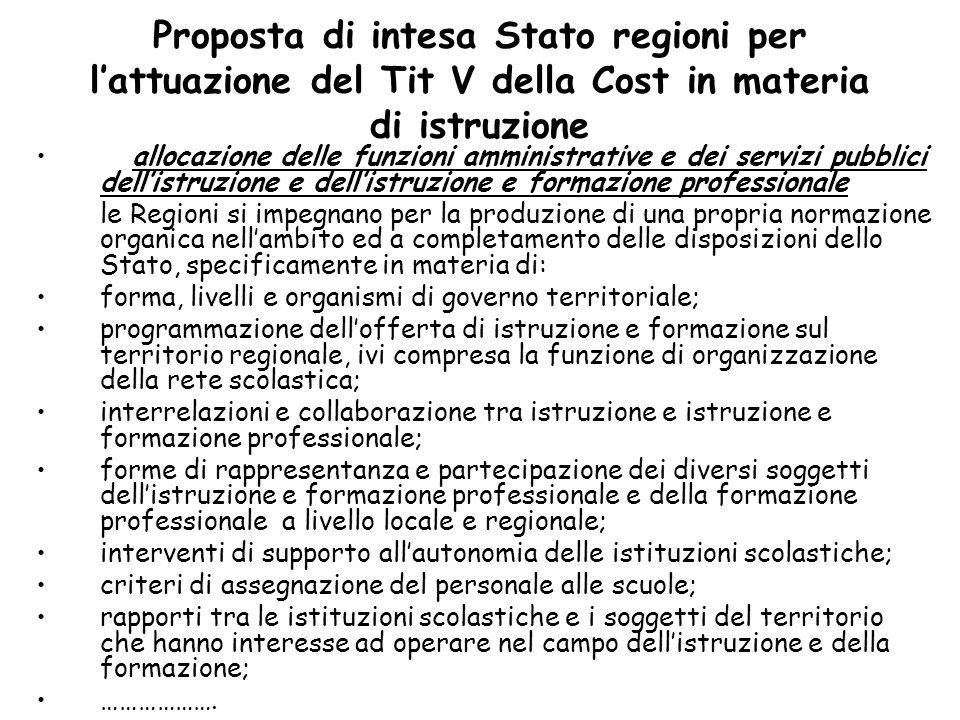 Proposta di intesa Stato regioni per l'attuazione del Tit V della Cost in materia di istruzione allocazione delle funzioni amministrative e dei serviz