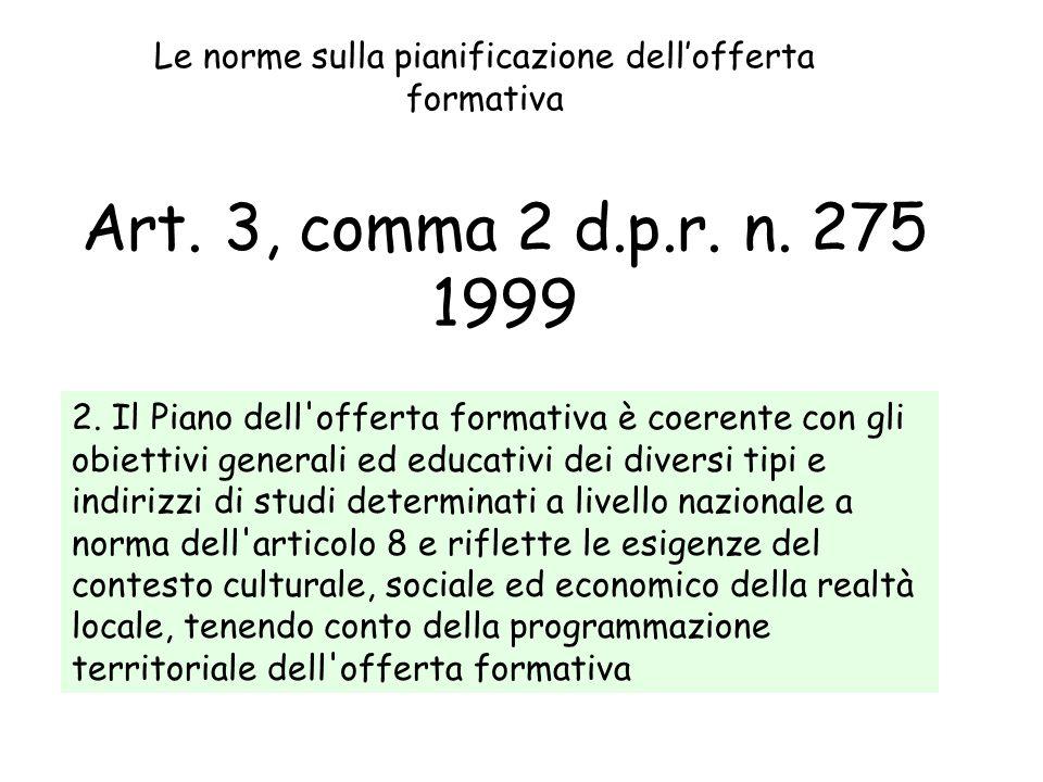 Art. 3, comma 2 d.p.r. n. 275 1999 2. Il Piano dell'offerta formativa è coerente con gli obiettivi generali ed educativi dei diversi tipi e indirizzi