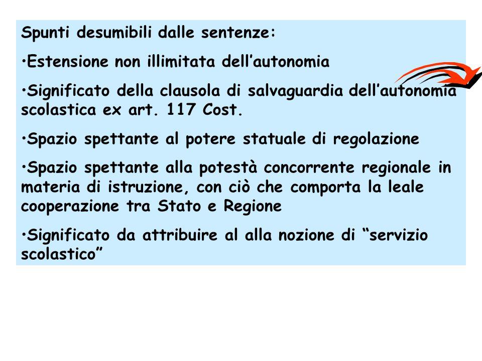 Spunti desumibili dalle sentenze: Estensione non illimitata dell'autonomia Significato della clausola di salvaguardia dell'autonomia scolastica ex art