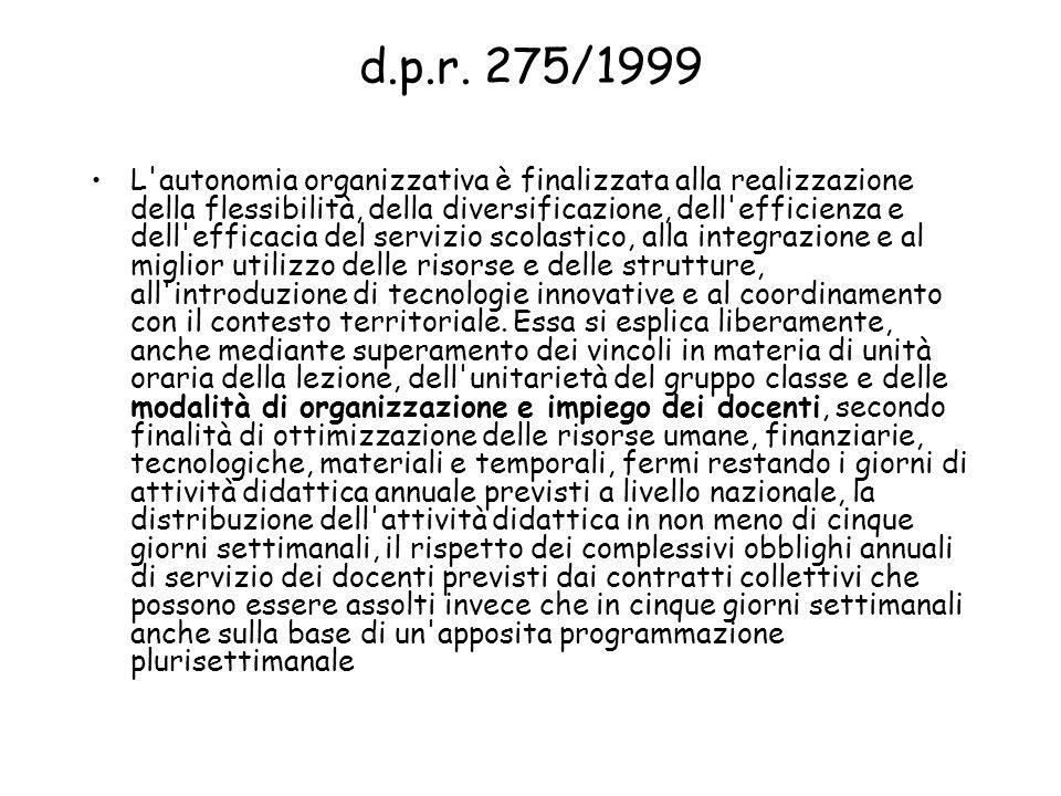 d.p.r. 275/1999 L'autonomia organizzativa è finalizzata alla realizzazione della flessibilità, della diversificazione, dell'efficienza e dell'efficaci