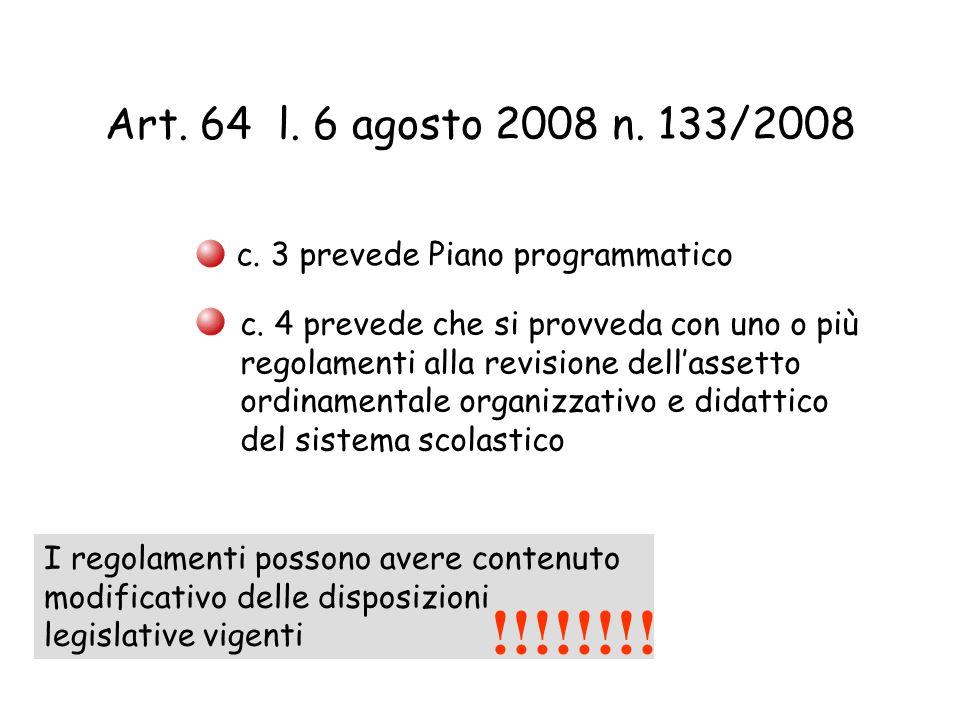 Art. 64 l. 6 agosto 2008 n. 133/2008 c. 3 prevede Piano programmatico c. 4 prevede che si provveda con uno o più regolamenti alla revisione dell'asset