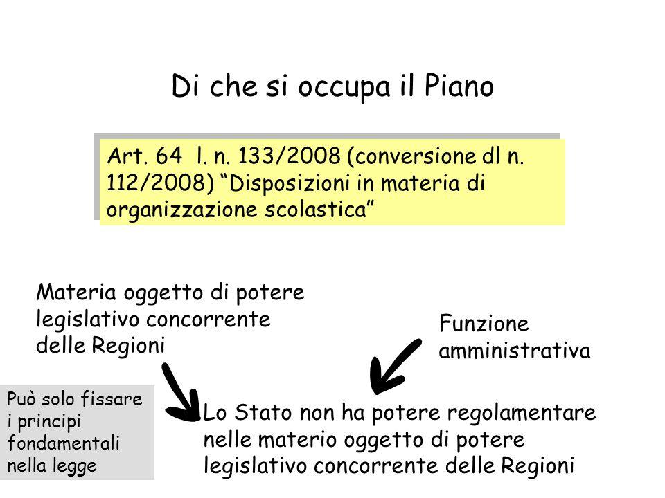 """Di che si occupa il Piano Art. 64 l. n. 133/2008 (conversione dl n. 112/2008) """"Disposizioni in materia di organizzazione scolastica"""" Materia oggetto d"""