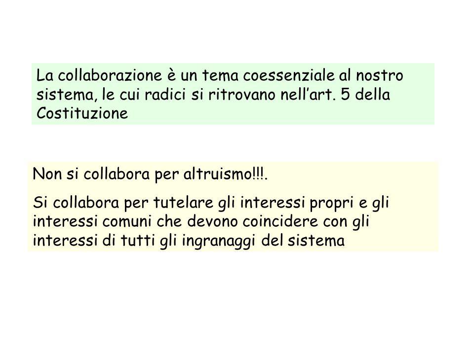 La collaborazione è un tema coessenziale al nostro sistema, le cui radici si ritrovano nell'art. 5 della Costituzione Non si collabora per altruismo!!