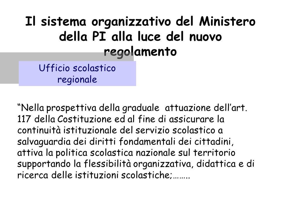 """Il sistema organizzativo del Ministero della PI alla luce del nuovo regolamento Ufficio scolastico regionale """"Nella prospettiva della graduale attuazi"""