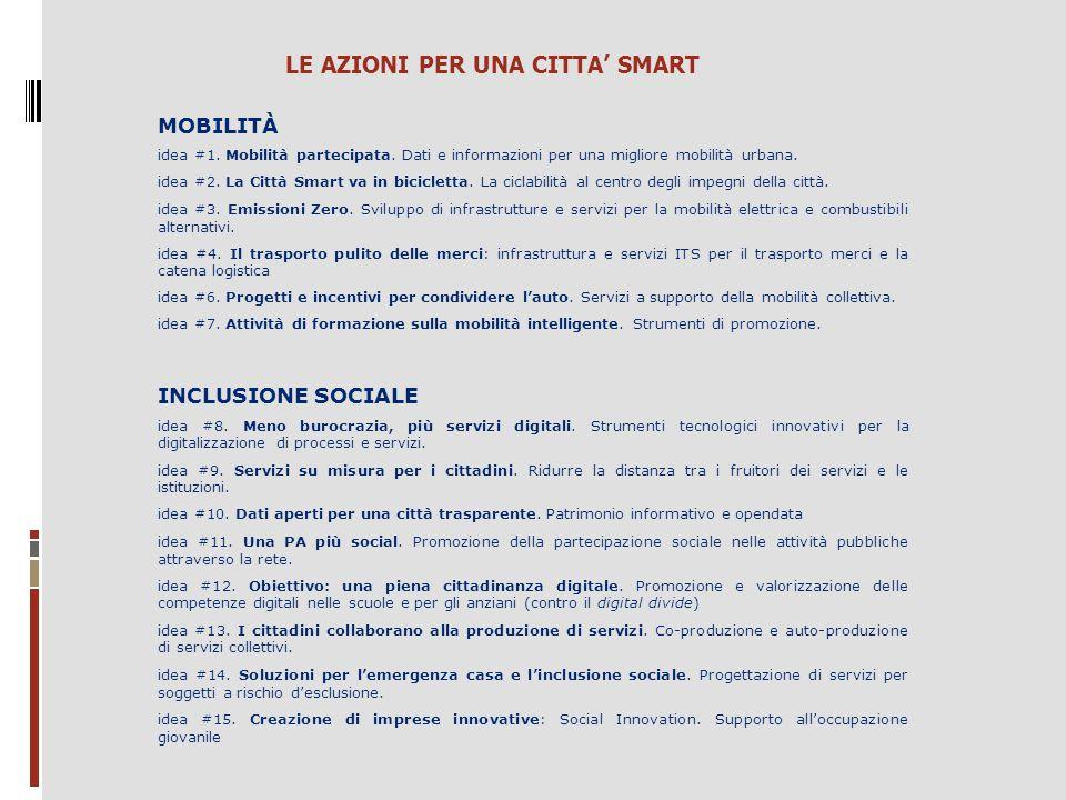 MOBILITÀ idea #1. Mobilità partecipata. Dati e informazioni per una migliore mobilità urbana. idea #2. La Città Smart va in bicicletta. La ciclabilità