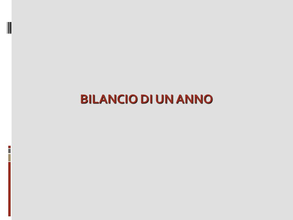 BILANCIO DI UN ANNO