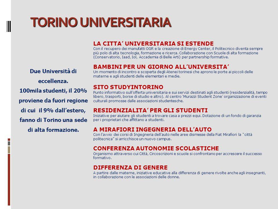 TORINO UNIVERSITARIA Due Università di eccellenza. 100mila studenti, il 20% proviene da fuori regione di cui il 9% dall'estero, fanno di Torino una se