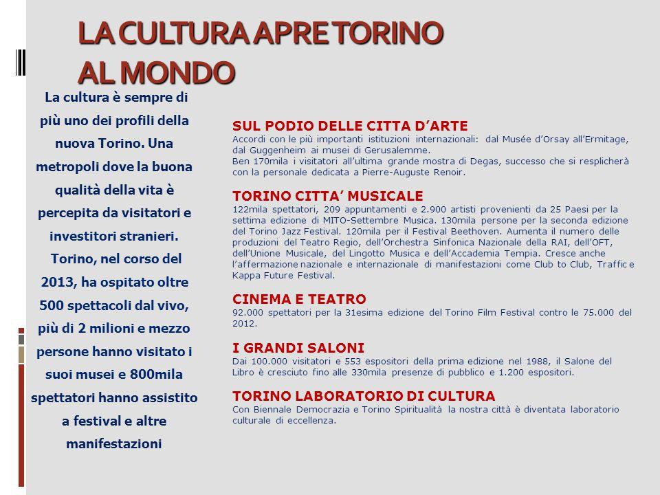 LA CULTURA APRE TORINO AL MONDO La cultura è sempre di più uno dei profili della nuova Torino. Una metropoli dove la buona qualità della vita è percep