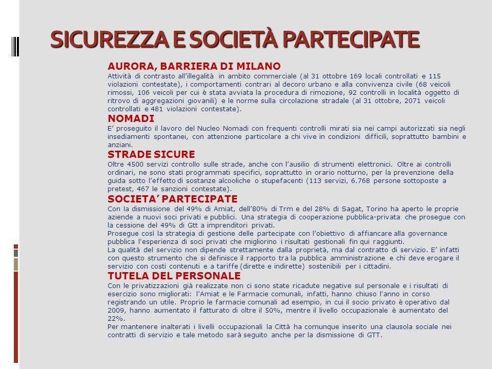 SICUREZZA E SOCIETÀ PARTECIPATE AURORA, BARRIERA DI MILANO Attività di contrasto all'illegalità in ambito commerciale (al 31 ottobre 169 locali contro