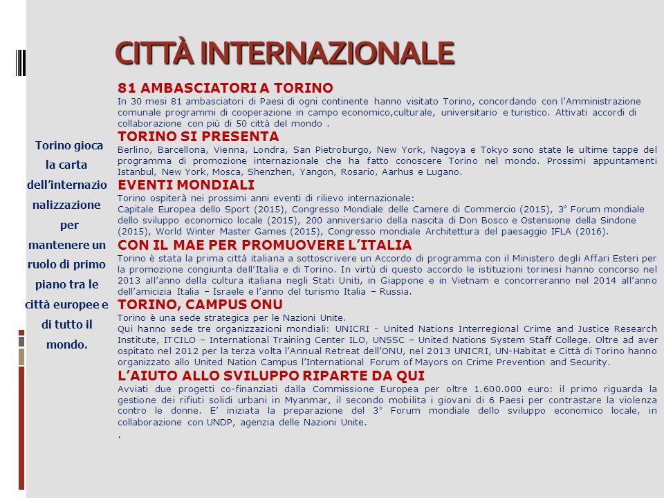 CITTÀ INTERNAZIONALE Torino gioca la carta dell'internazio nalizzazione per mantenere un ruolo di primo piano tra le città europee e di tutto il mondo