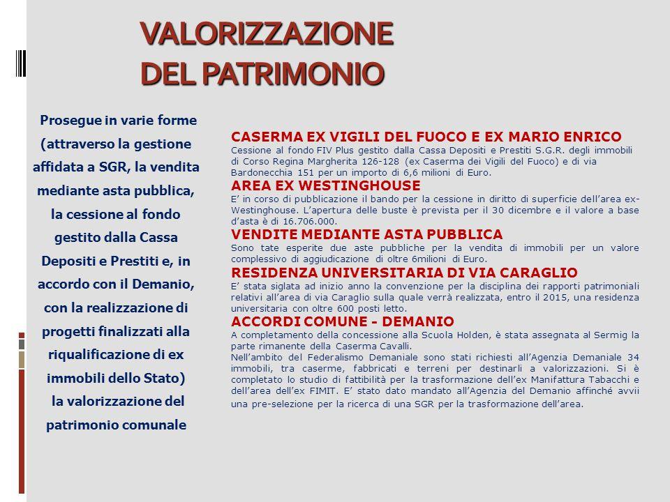 VALORIZZAZIONE DEL PATRIMONIO Prosegue in varie forme (attraverso la gestione affidata a SGR, la vendita mediante asta pubblica, la cessione al fondo