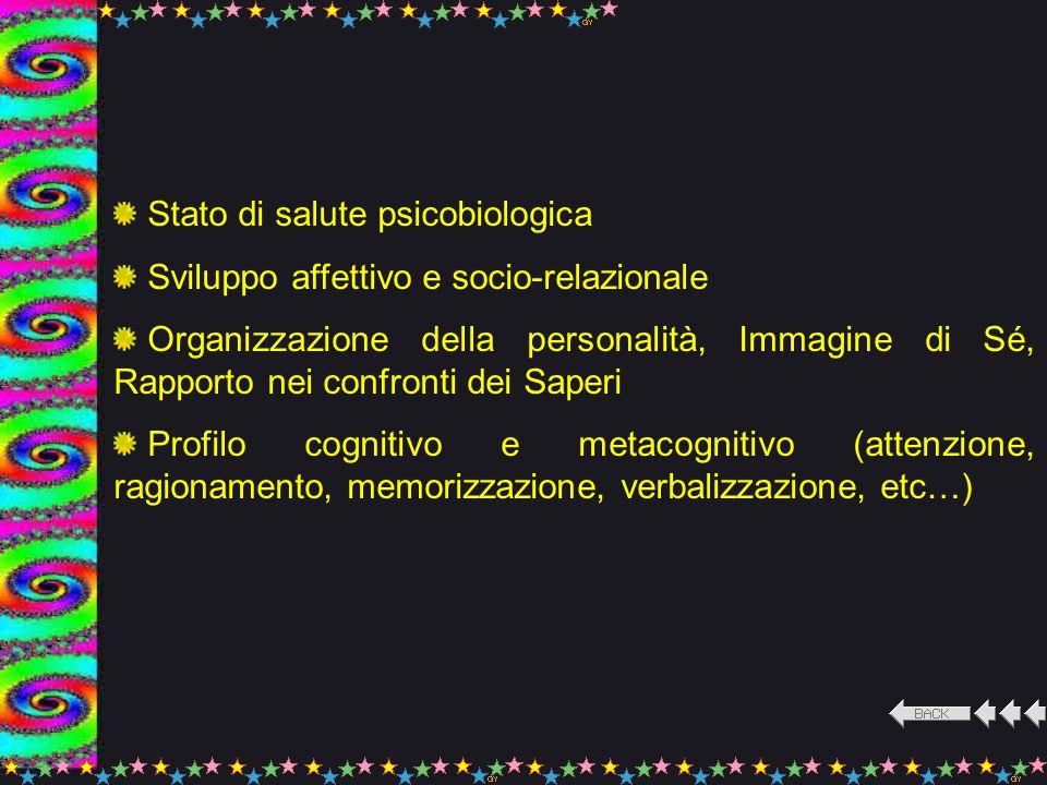 Stato di salute psicobiologica Sviluppo affettivo e socio-relazionale Organizzazione della personalità, Immagine di Sé, Rapporto nei confronti dei Sap