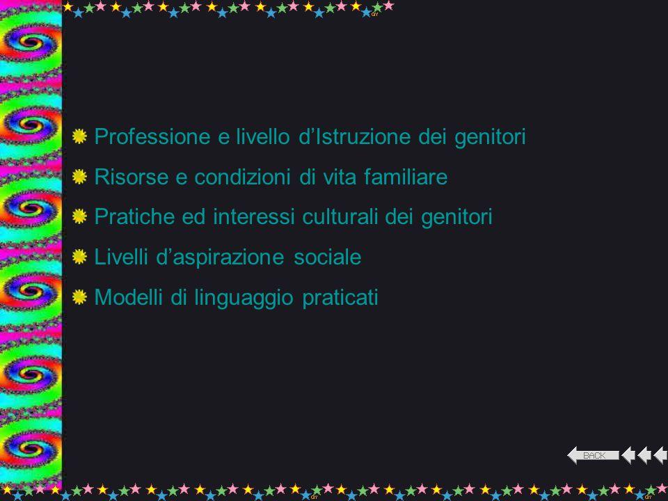 Modelli e modalità di valutazione Relazioni Insegnanti/allievi Integrazione nel gruppo-classe Eterogeneità della classe Metodi pedagogico-didattici Clima relazionale in classe Modalità di organizzazione della Scuola