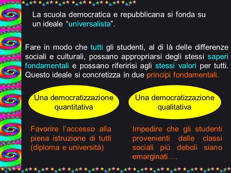 Questi due obiettivi fondamentali della Scuola Democratica, possiamo dire che sono pienamente realizzati.