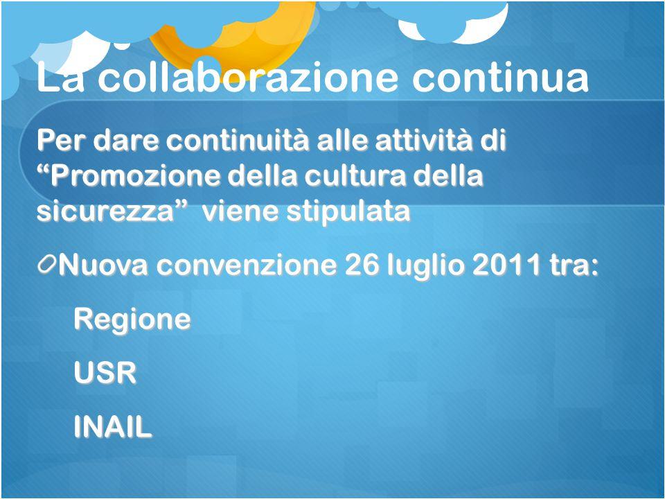 La collaborazione continua Per dare continuità alle attività di Promozione della cultura della sicurezza viene stipulata Nuova convenzione 26 luglio 2011 tra: Regione Regione USR USR INAIL INAIL