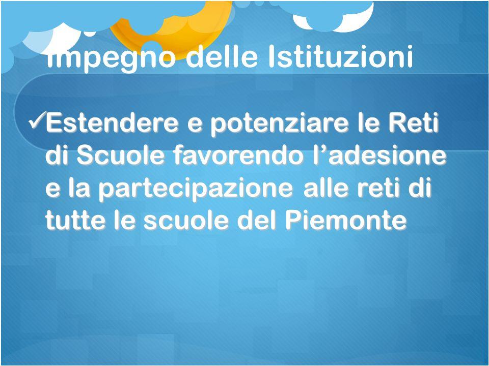Impegno delle Istituzioni Estendere e potenziare le Reti di Scuole favorendo l'adesione e la partecipazione alle reti di tutte le scuole del Piemonte Estendere e potenziare le Reti di Scuole favorendo l'adesione e la partecipazione alle reti di tutte le scuole del Piemonte